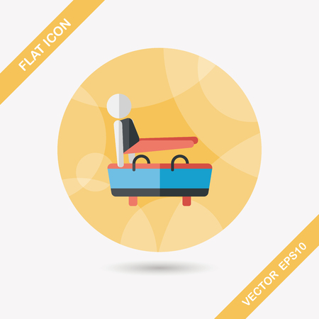 gymnastic pommel horse flat icon with long shadow