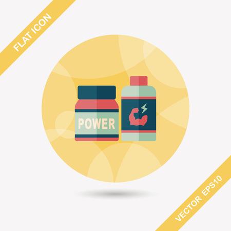 pressure bottle: icono plana suplementos de drogas con una larga sombra