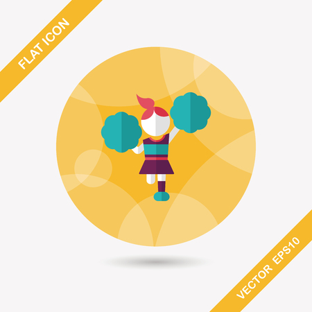 excite: cheerleader flat icon with long shadow
