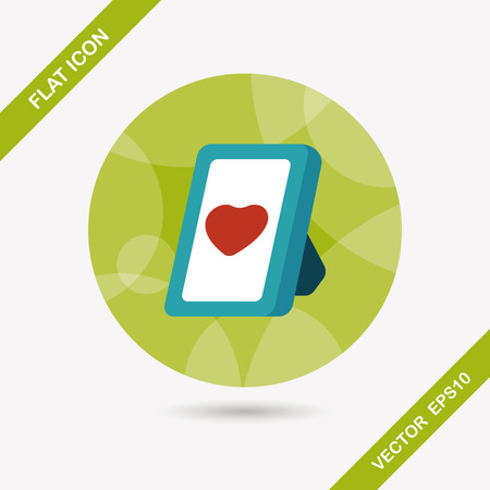 Valentines Day photo frame flat icon with long shadow Vector