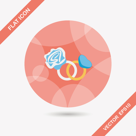 valentin's: Valentines Day diamond ring flat icon with long shadow