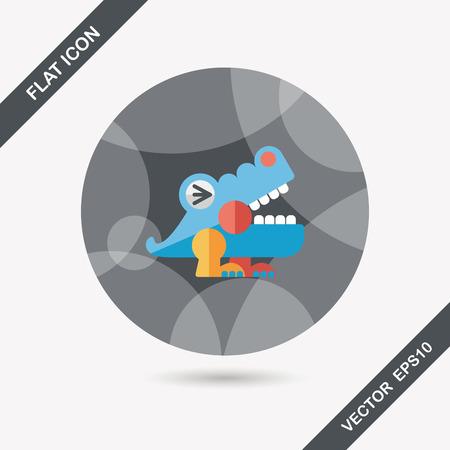 wrath: crocodile toy flat icon with long shadow