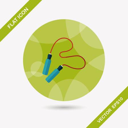 saltar la cuerda: Saltarse el icono plana cuerda con larga sombra Vectores