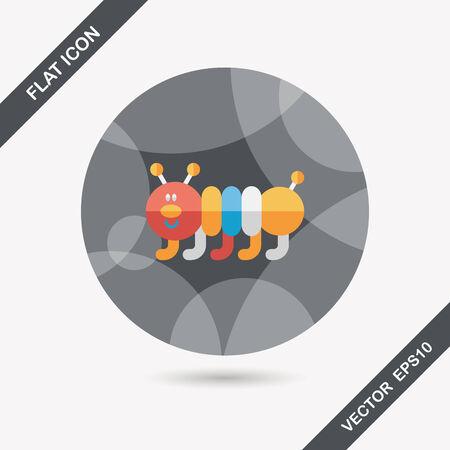 creep: Caterpillar flat icon with long shadow Illustration