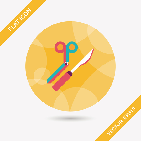 incision: Surgical Instrument flat icon with long shadow