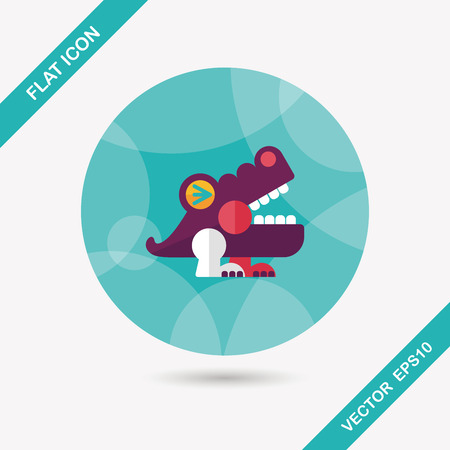 destructive: crocodile toy flat icon with long shadow,eps10 Illustration
