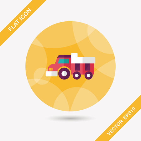earthmoving: Dump truck flat icon with long shadow