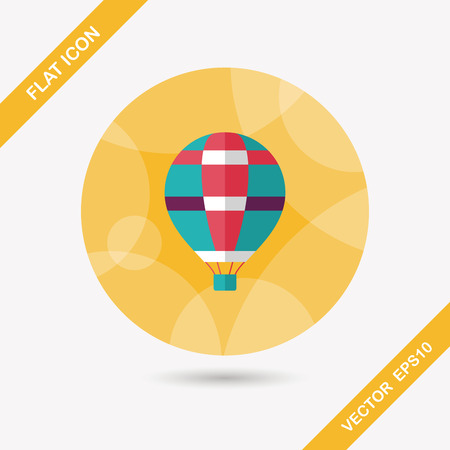 hot air: Transportation hot air balloon flat icon with long shadow