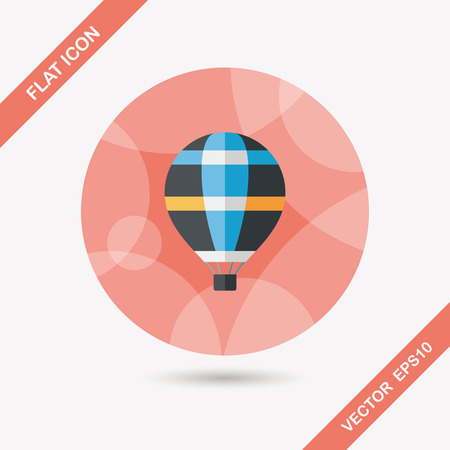 hot air: Transportation hot air balloon flat icon with long shadow