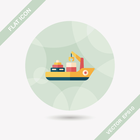 shipbuilder: Transportation Container ship flat icon with long shadow