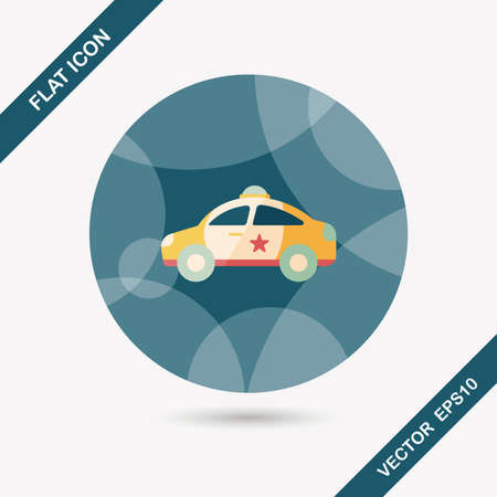 politieauto: Transportation police car flat icon with long shadow