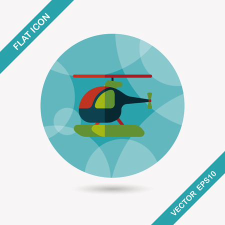 helicopter rescue: Transportation helicopter flat icon with long shadow