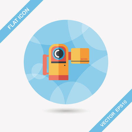 home video camera: Video camera flat icon with long shadow