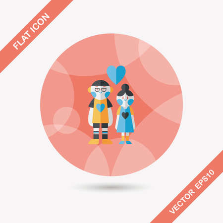 inlove: Valentines day couple flat icon with long shadow Illustration
