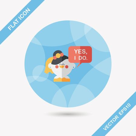 vow: wedding yes i do words from bride flat icon with long shadow Illustration