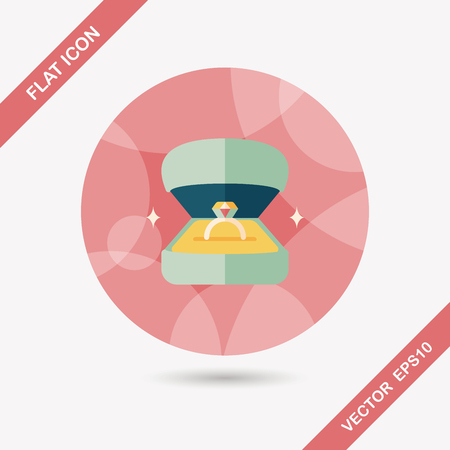 propose: Propose diamond ring flat icon with long shadow,eps10
