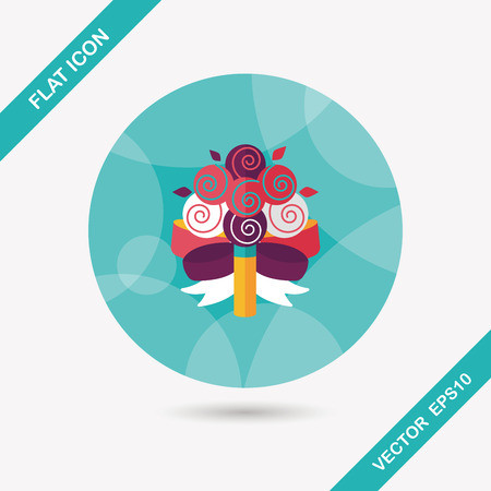 flower bouquet: wedding flower bouquet flat icon with long shadow Illustration