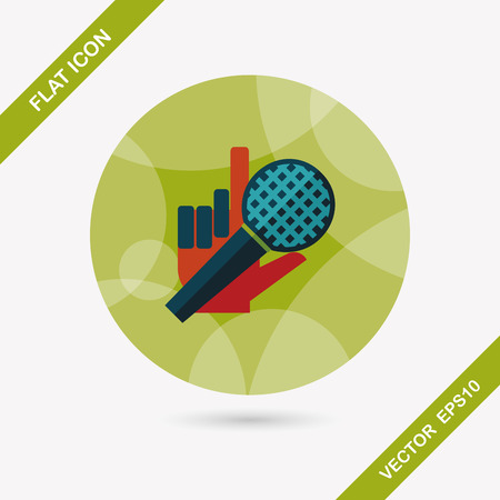 silver service: Microphone flat icon with long shadow