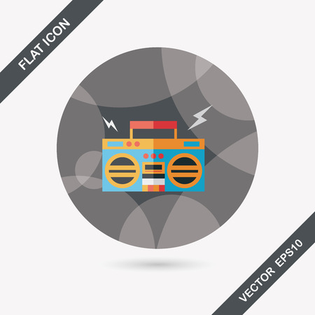 ghetto blaster audio flat icon with long shadow