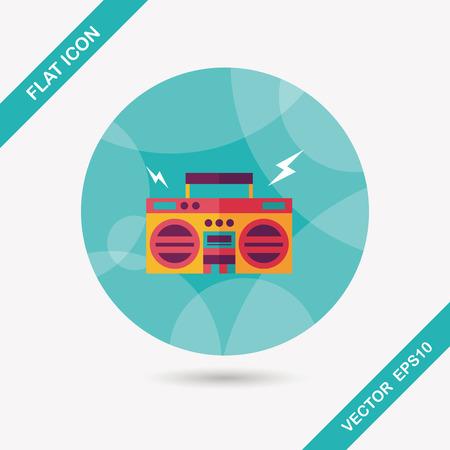 ghetto: ghetto blaster audio icona piatto con una lunga ombra