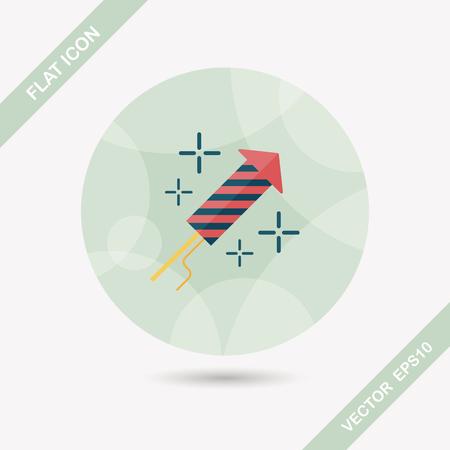 skyrocket: Firecracker flat icon with long shadow
