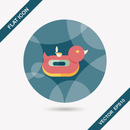duck  Swim ring flat icon with long shadow Vector