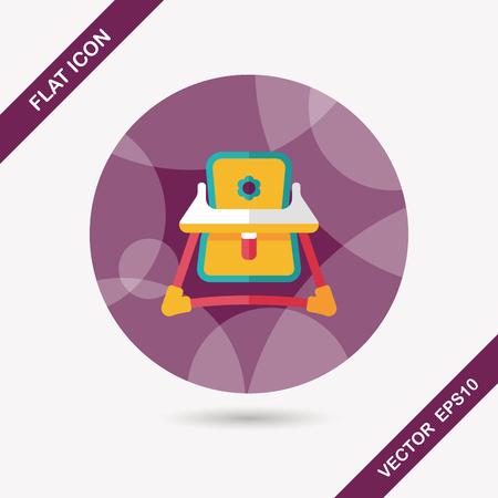 walker: Baby walker flat icon with long shadow