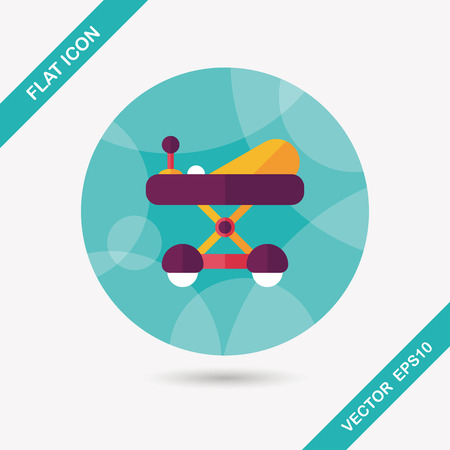 playtime: Baby walker flat icon with long shadow
