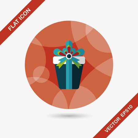 wrap wrapped: birthday presents flat icon with long shadow