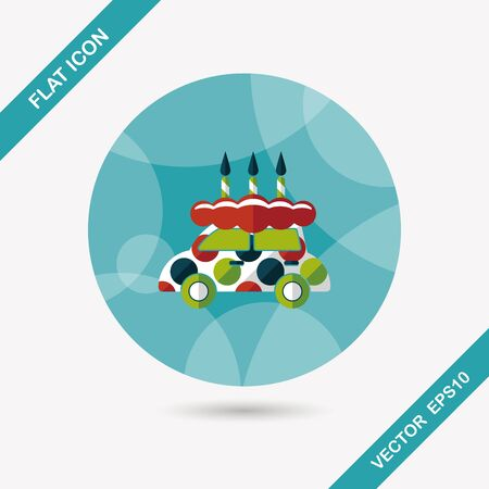 buttercream: birthday cake flat icon with long shadow Illustration