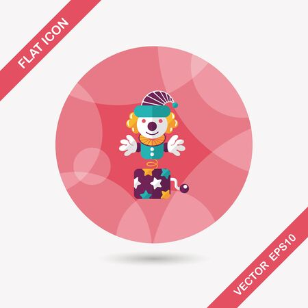 Jack in the box flat icon with long shadow Vector