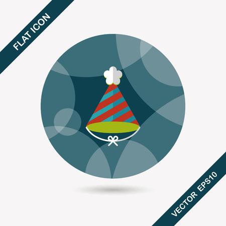 birthday hat: birthday hat flat icon with long shadow Illustration