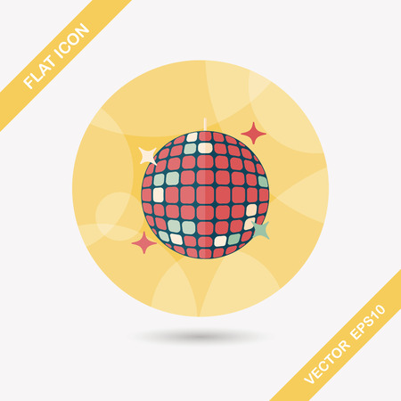 glowing ball: Disco ball flat icon with long shadow Illustration