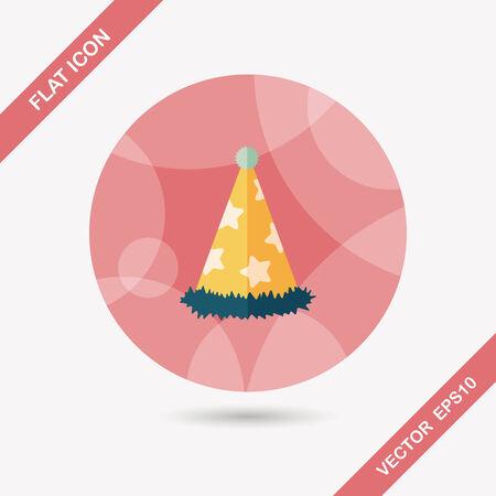 fiesta de cumpleanos: icono plana sombrero de fiesta de cumplea�os con una larga sombra Vectores