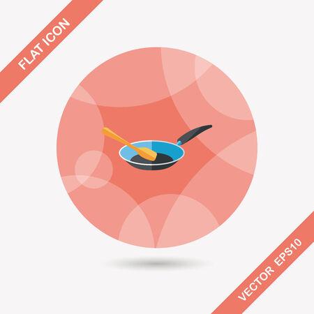 부엌 용품 프라이팬과 셔블 긴 그림자가있는 평면 아이콘 일러스트