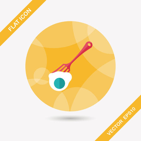 dinning: kitchenware fork and egg flat icon with long shadow