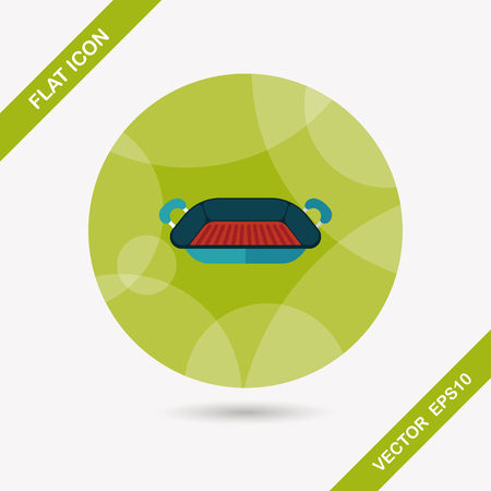 bakeware: bakeware flat icon with long shadow Illustration