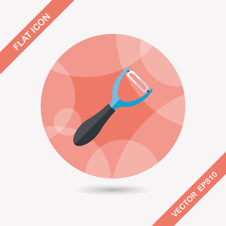 peeler: kitchenware peeler flat icon with long shadow