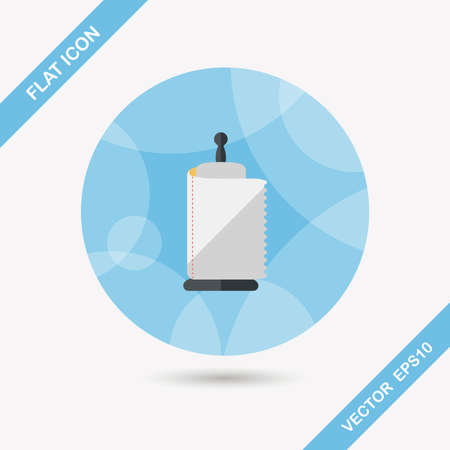 sanitary towel: kitchenware paper flat icon with long shadow