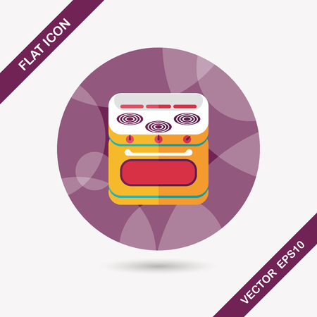 gas stove: kitchenware gas stove with oven flat icon with long shadow