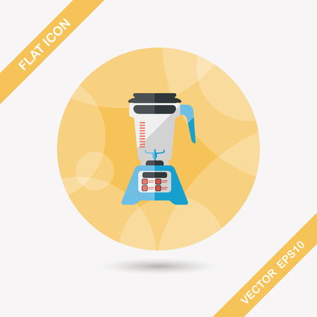liquidizer: kitchenware electric juicer flat icon with long shadow Illustration