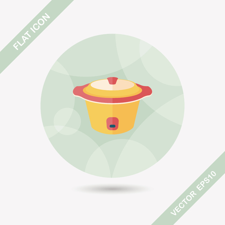 electric tea kettle: kitchenware electric pot flat icon with long shadow Illustration