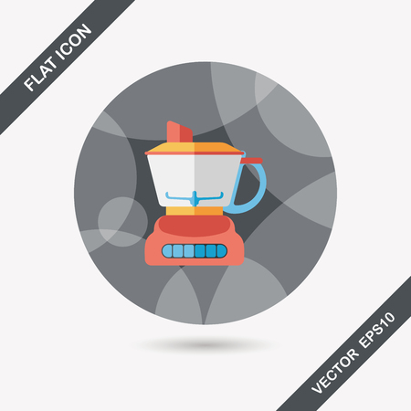 squeezer: kitchenware electric juicer flat icon with long shadow Illustration