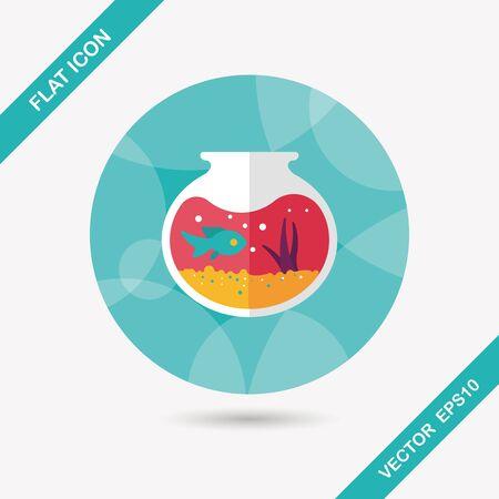 fishbowl: Pet fish bowl flat icon with long shadow Illustration