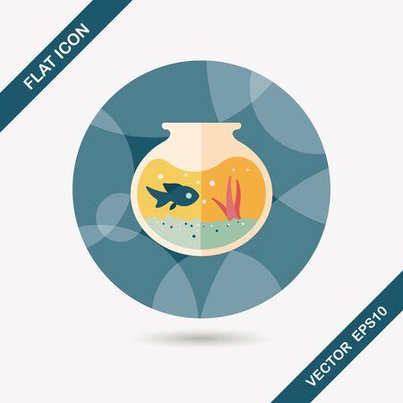 fish bowl: Pet fish bowl flat icon with long shadow Illustration