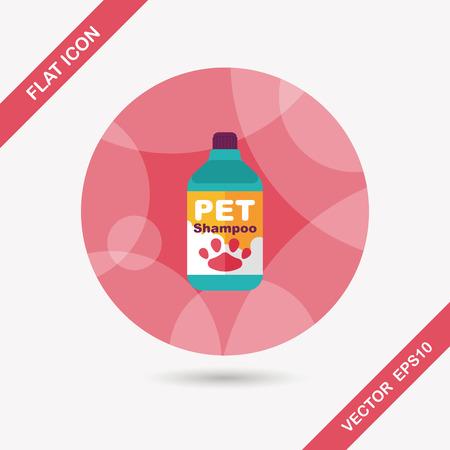 bathtime: Pet shampoo flat icon with long shadow