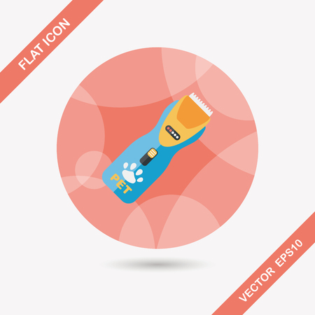 shaving: Pet shaving machine flat icon with long shadow,eps10