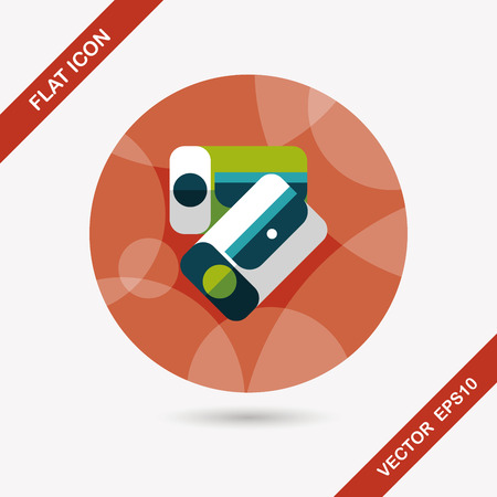 Pencil sharpener flat icon with long shadow Vector