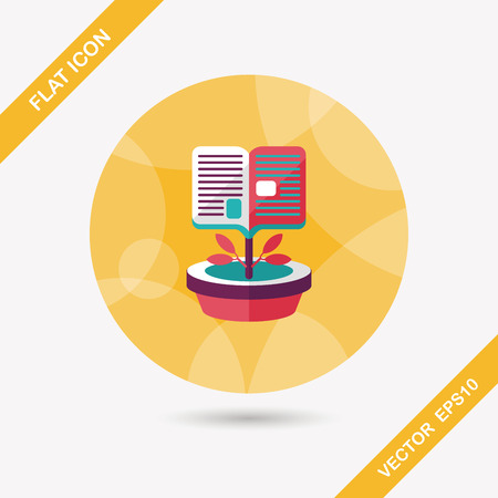 book tree flat icon with long shadow Vector