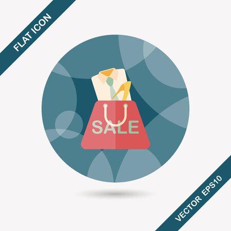 clothed: negozi vestito icona piatto con una lunga ombra Vettoriali